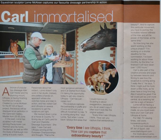 Article in August edition of  Horse and Rider